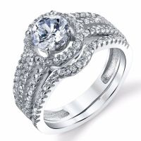 925 Sterling Silver CZ Engagement Wedding Ring Set ...