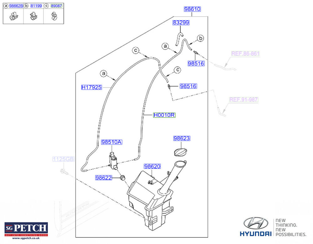 Genuine Hyundai i20 2014- Windscreen Washer Tank & Pump