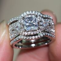 White Gold Over Princess Cut Vintage Lab Diamond Wedding ...