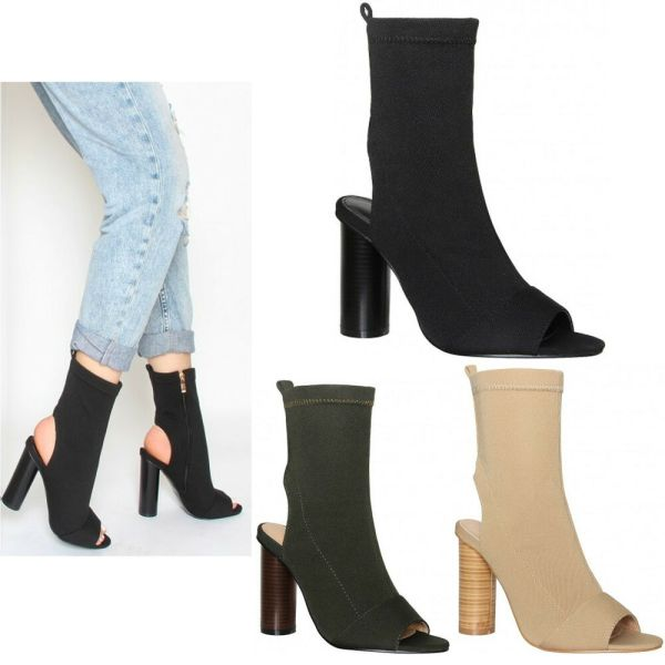 Womens Ladies Peep Toe Cylinder High Heel Knitted Stretch