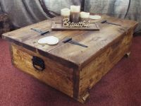 Coffee table storage box wooden plank rustic blanket chest ...