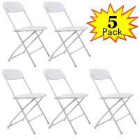 Commercial (5) Plastic Folding Chairs Stackable Wedding ...