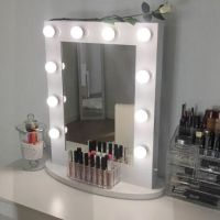 White Hollywood Makeup Vanity Mirror with Light Aluminum ...