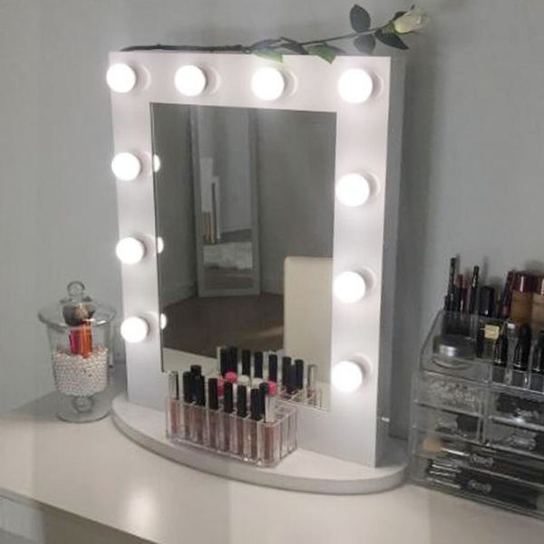 White Hollywood Makeup Vanity Mirror With Light Aluminum