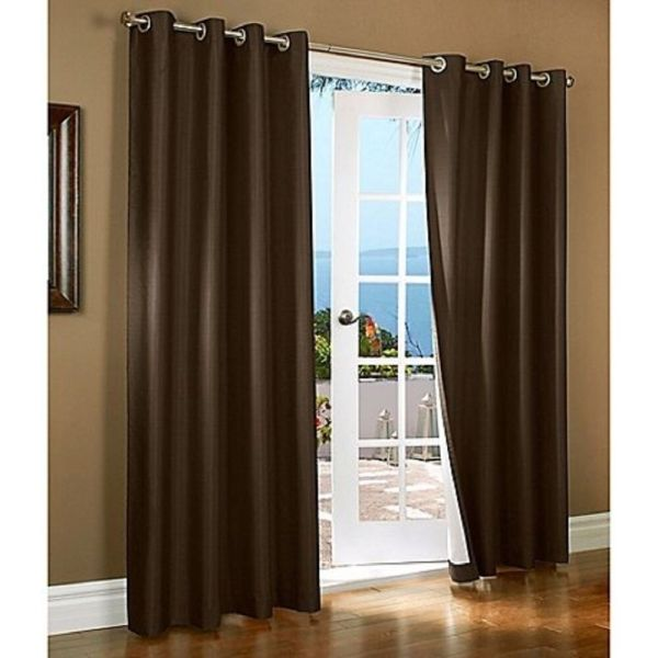 Brown Blackout Curtains Thermal Lined Solid Window Grommet Drape 2 Panels
