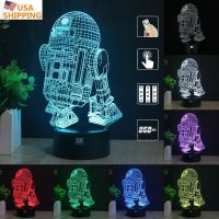 Star Wars R2-D2 3D Acrylic LED Night Light 7 Color Touch ...