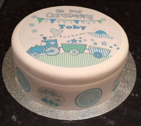 Boys Blue Edible Icing Sugar Topper Ribbon