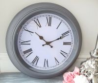 NEW Large Grey Chic Shabby Distressed Wall Clock French ...