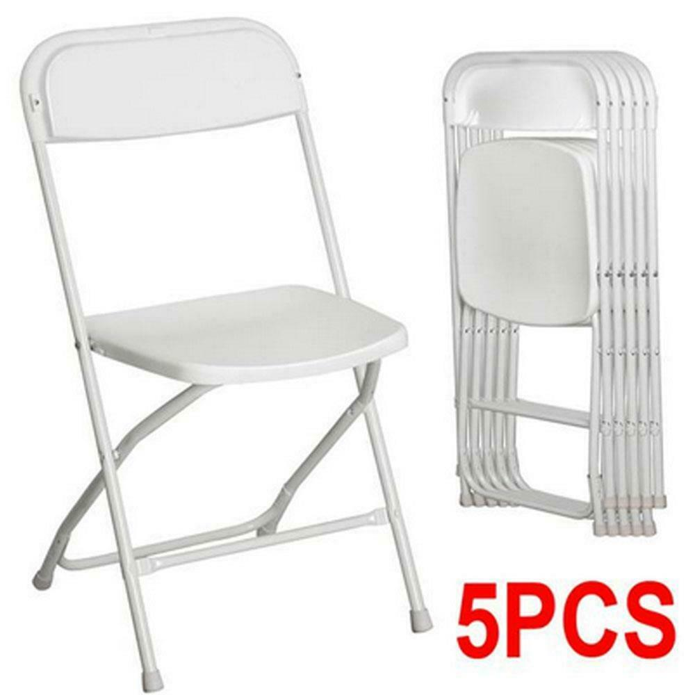New Hot Set Of 5 Commercial White Plastic Folding Chairs
