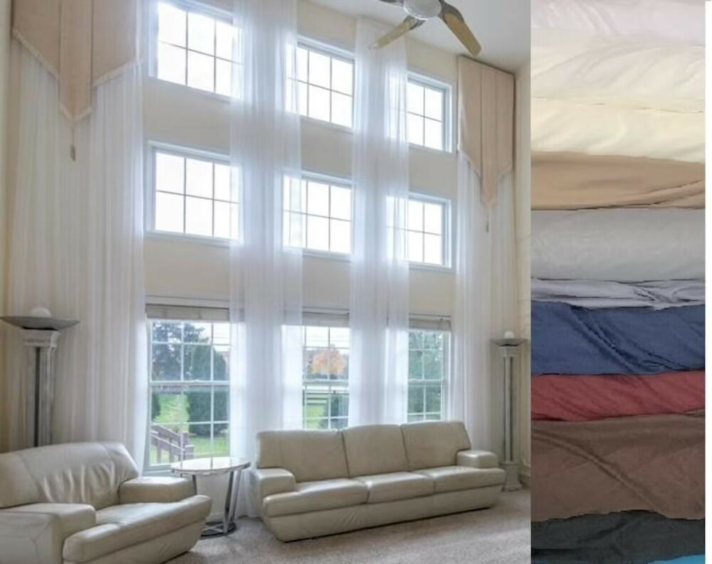 2 extra long curtains for high ceiling sheer drapes 1624 ft custom made 2 story  eBay