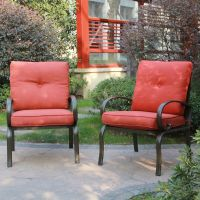 Set of 2 Outdoor Dining Chair Patio Club Seating Chair ...