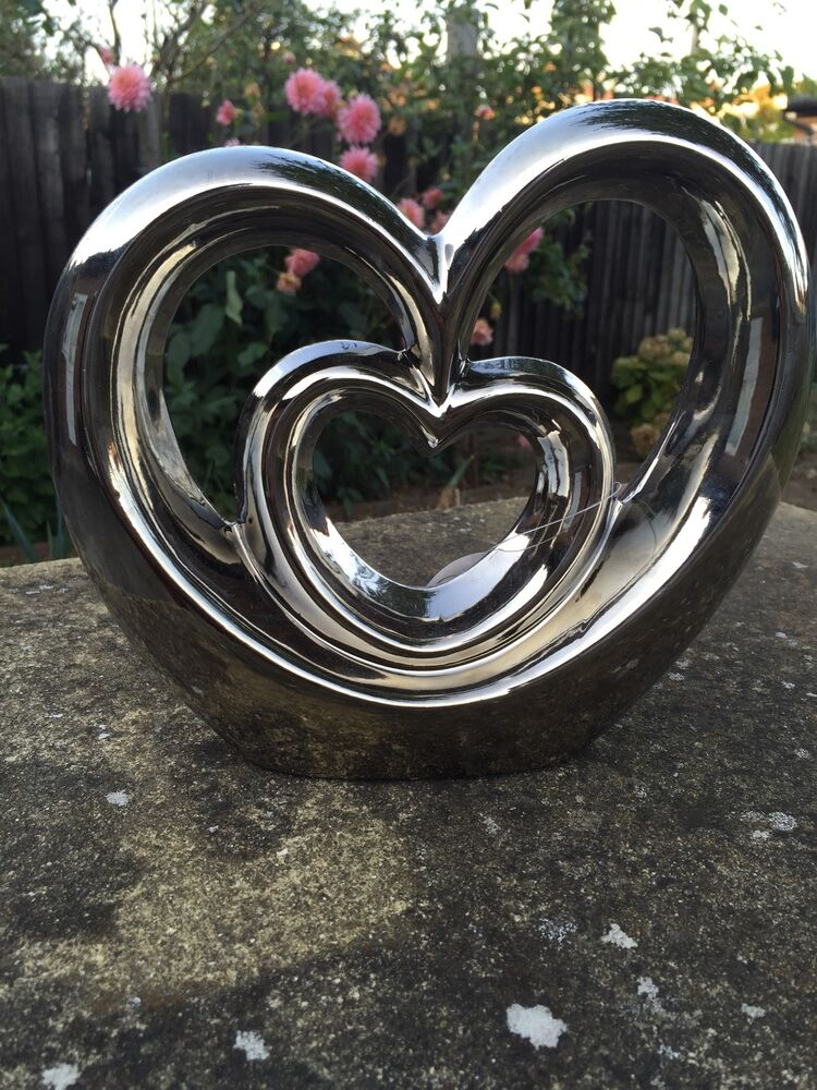 NEW SILVER MODERN CONTEMPORARY LARGE HEART SHAPED chrome