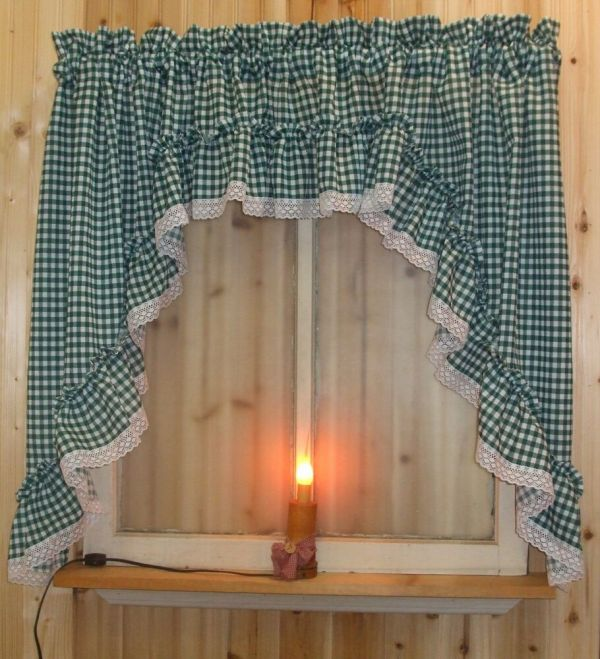 """Green Gingham Ruffled Swag Valance Curtain 82"""" Wide X 36"""