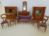 Antique dollhouse furniture c1840 table chairs mirror ...
