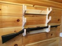 NEW Solid Wood 3 Place Gun Rack Rifle Shotgun Wall Mount