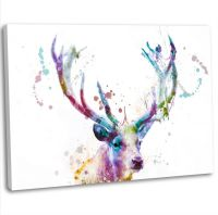 Stag Deer Head Abstract Painting Canvas Print Framed Wall