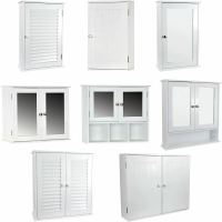 Wall Mounted Cabinet Bathroom White Single Double Door