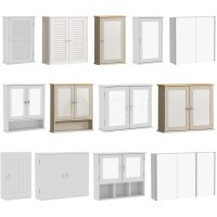 Wall Mounted Cabinet Bathroom White Single Double Door ...