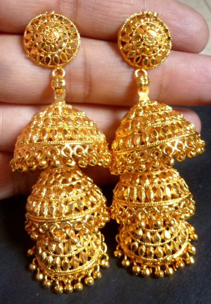22K Gold Plated 3 Steps Indian Wedding Jhumka 3 Long