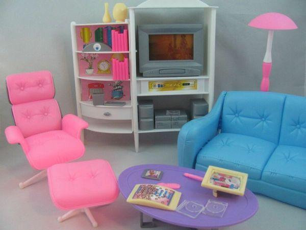 Barbie Size Dollhouse Furniture Family Room TV Otto Sofa