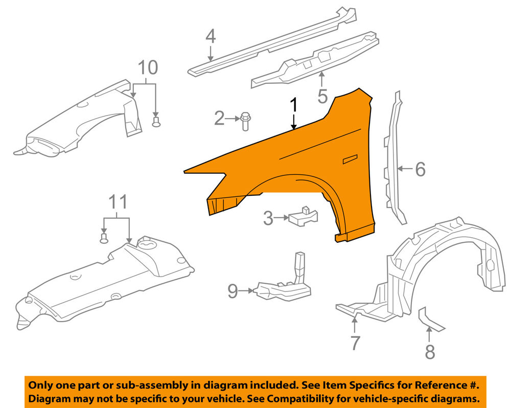 medium resolution of details about lexus toyota oem 11 13 is250 front fender quarter panel right 5380153140