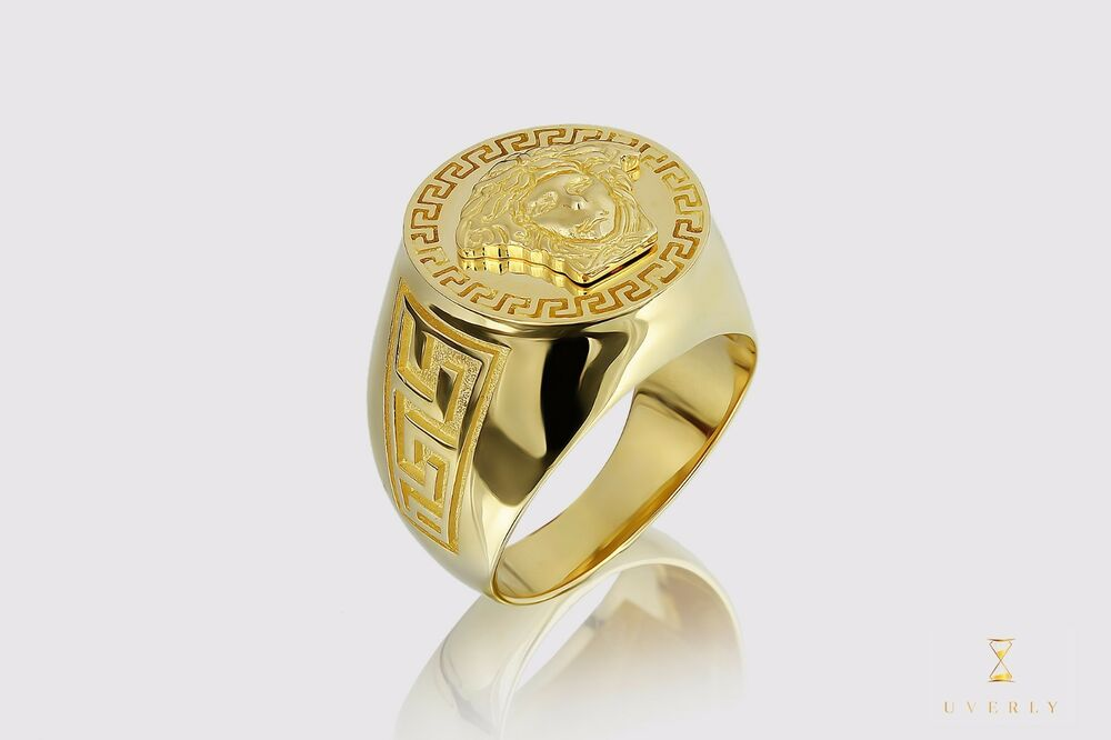 Versace Medusa 14k Solid Yellow Gold Men's Men Gold Ring
