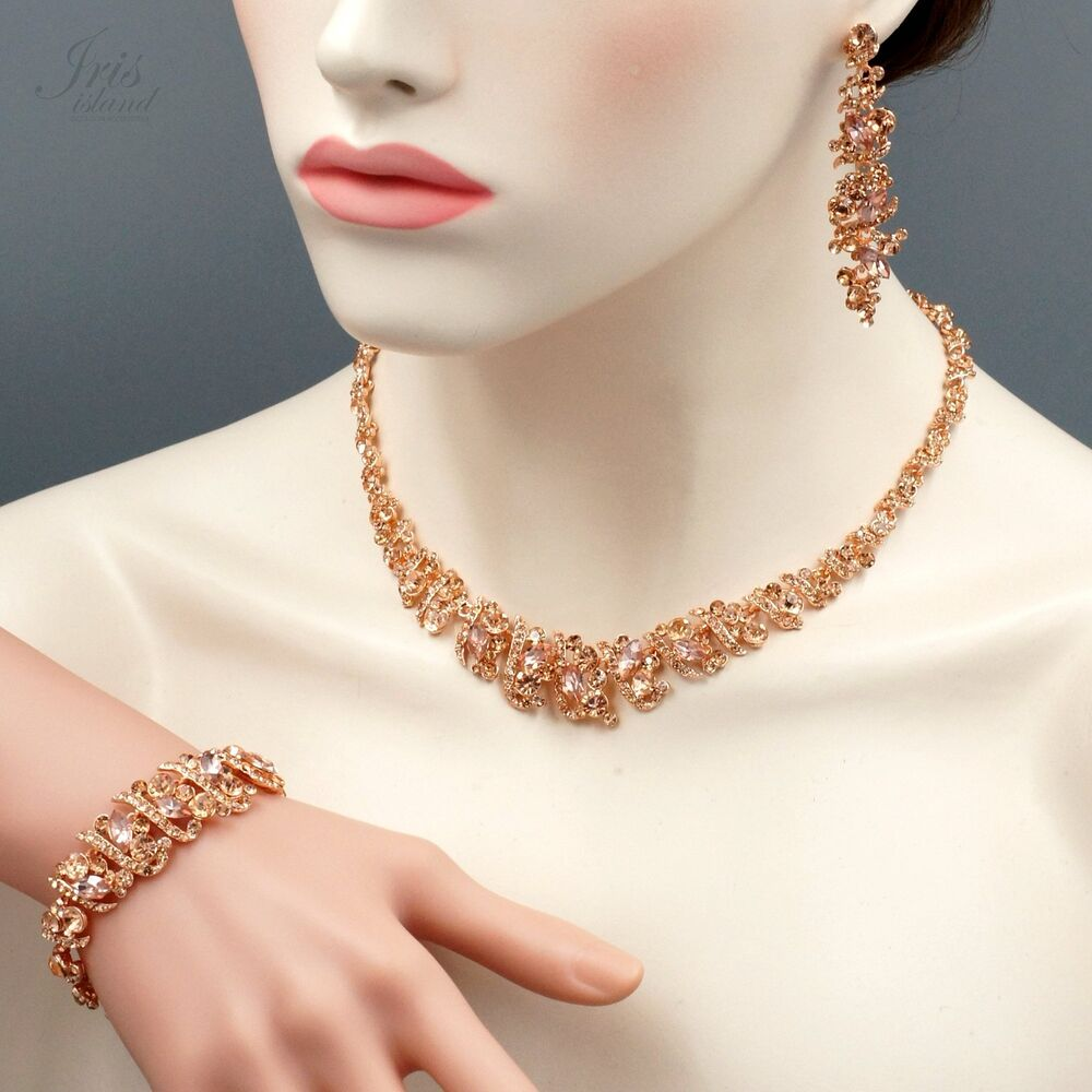 ROSE GOLD Plated Crystal Necklace Earrings Bracelet