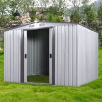 DIY Backyard Metal Garden Shed Storage Kit Building Doors ...