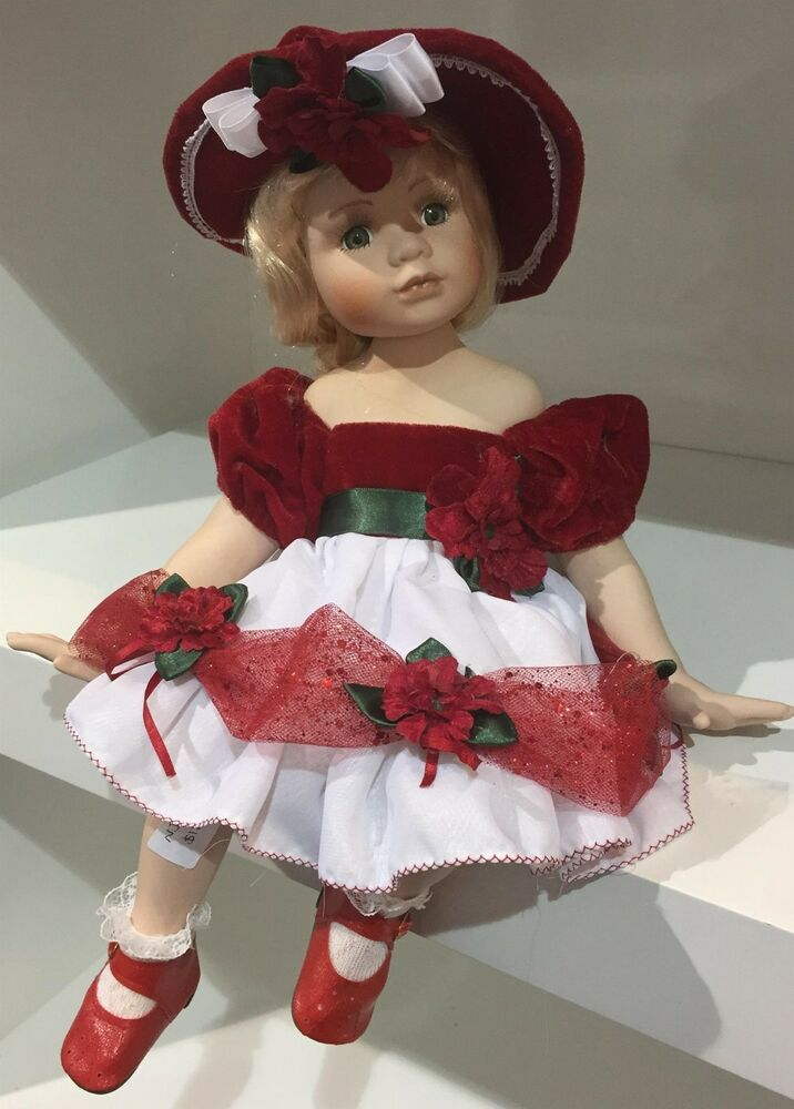 PORCELAIN SITTING DOLL RED LARGE HAT AND DRESS BRAND NEW BOX 38CMS  15 INCHES  eBay