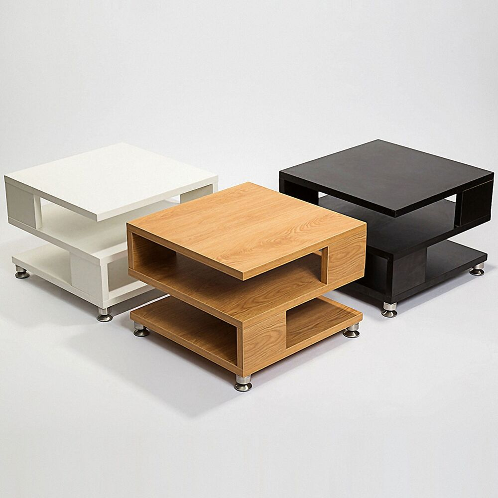 White/Black/Oak Square Coffee Table Storage Wood Living