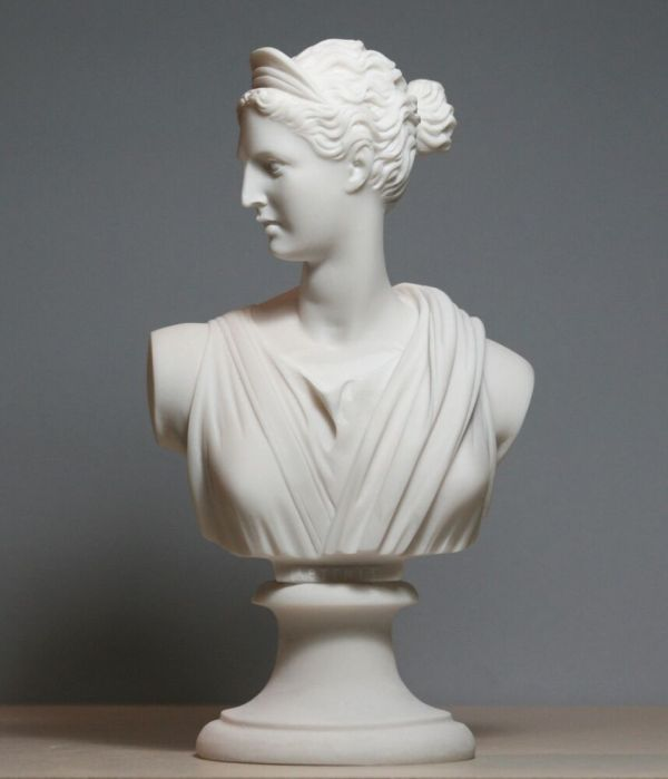 Greek Roman Goddess Artemis Diana Bust Head Cast Marble