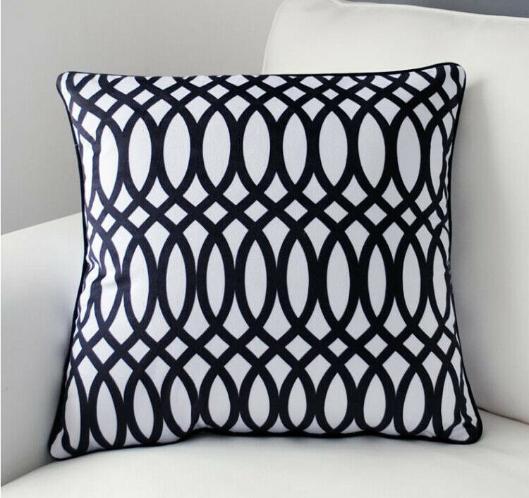 cotton velvet sofa corner sofas pay monthly no credit check new black & white geometric pillow case decorative ...