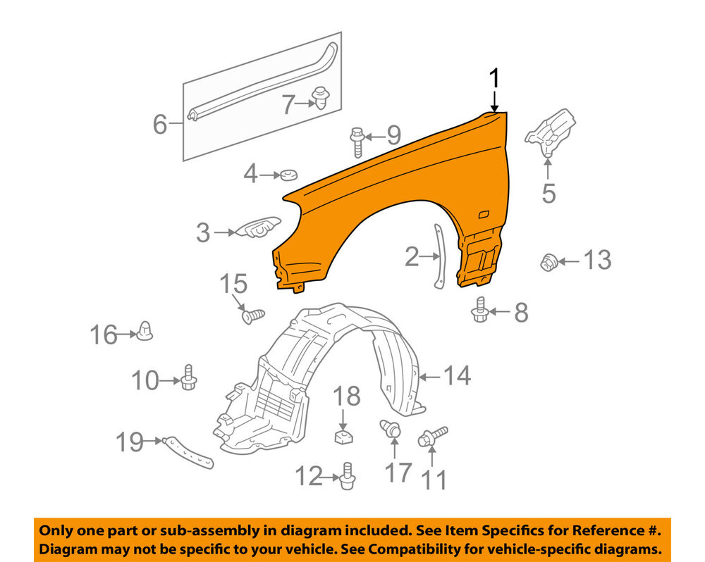 hight resolution of details about lexus toyota oem 01 05 is300 front fender quarter panel right 5380153030