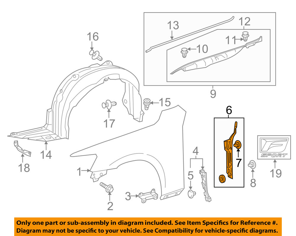hight resolution of details about lexus toyota oem 14 16 is350 fender protector bracket support right 5382753040