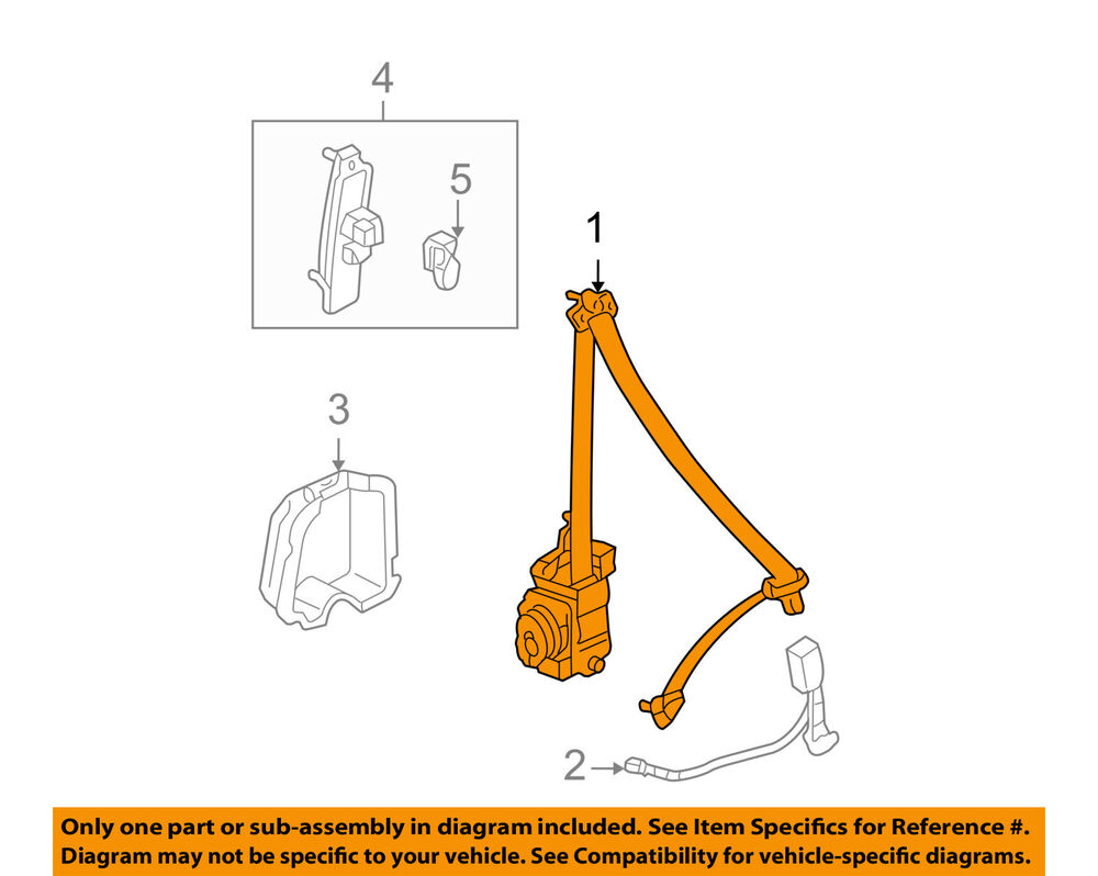hight resolution of details about honda oem 03 04 accord front seat belt buckle retractor right 04814sdca01zc