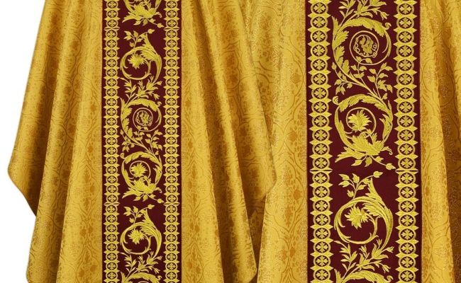 Gold Red Gothic Chasuble With Stole 645 Gc16 Casulla