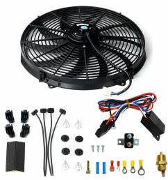 details about 16 electric radiator fan high 3000 cfm thermostat wiring switch relay kit black home fan wiring kits electric radiator fan wiring kit [ 1000 x 1000 Pixel ]