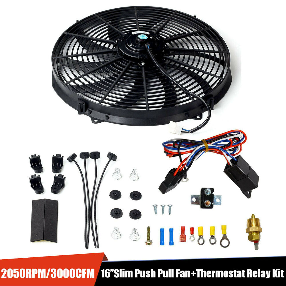 hight resolution of details about 16 electric radiator fan high 3000 cfm thermostat wiring switch relay kit black home fan wiring kits electric radiator fan wiring kit