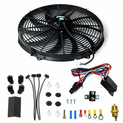 small resolution of details about 16 electric radiator fan high 3000 cfm thermostat wiring switch relay kit black home fan wiring kits electric radiator fan wiring kit