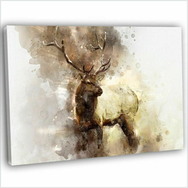 Abstract Watercolour Stag Deer Painting Canvas Print Framed Wall Art .4