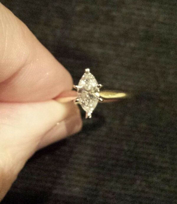 14k Yellow Gold 1 2 Carat Clean Marquise Diamond Solitaire Ring Sizeable 6
