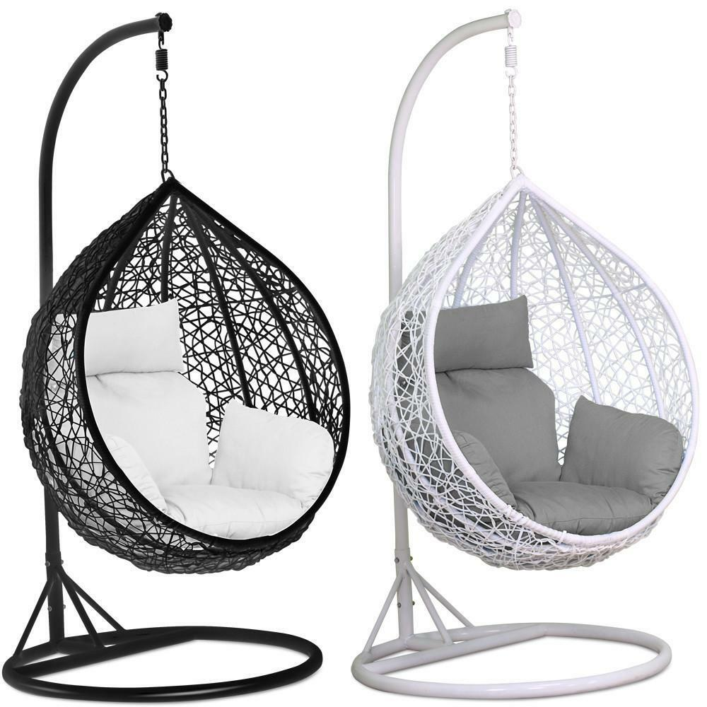 Egg Swing Chairs Rattan Swing Patio Garden Weave Hanging Egg Chair W Cushion Cover In Or Outdoor Ebay