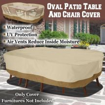 Large Patio Garden Rectangular Oval Table Chair Cover