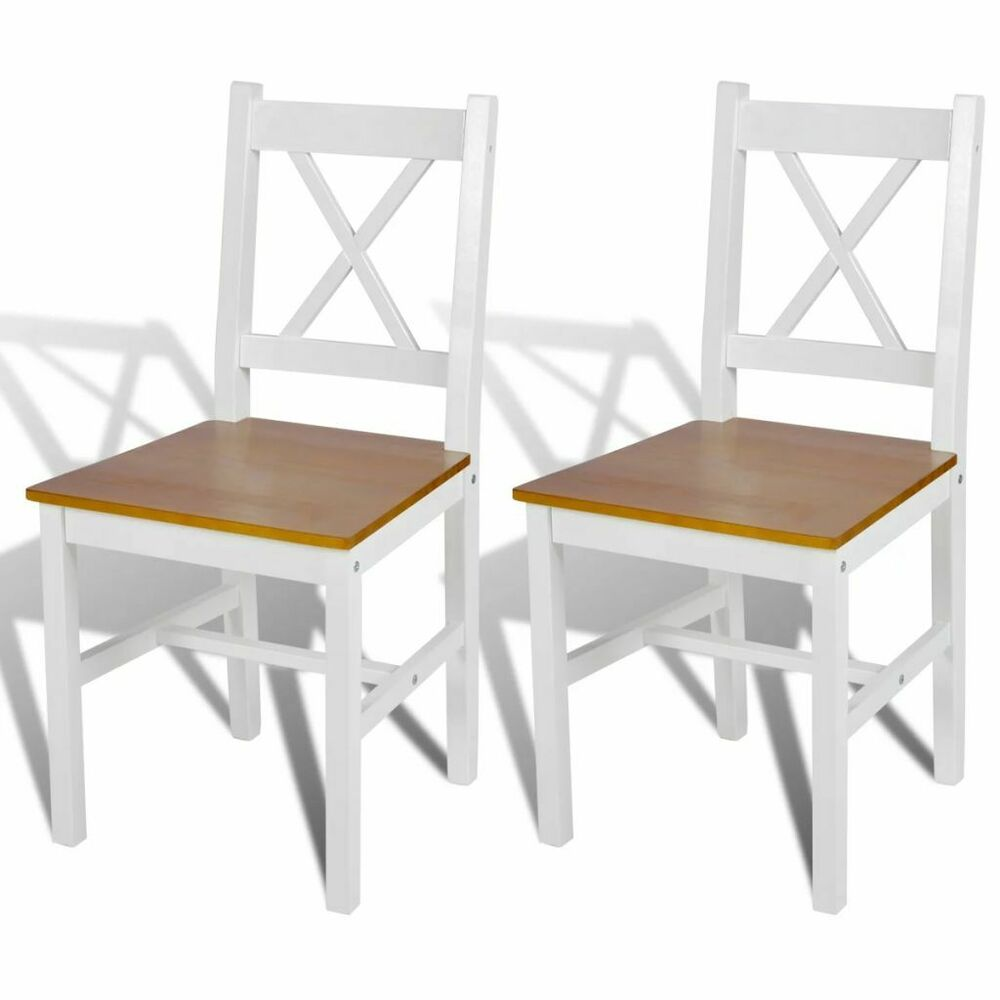 Kitchen Chairs Wood Vidaxl 2x Dining Chairs Wood White And Natural Colour Kitchen Furniture Seat Ebay