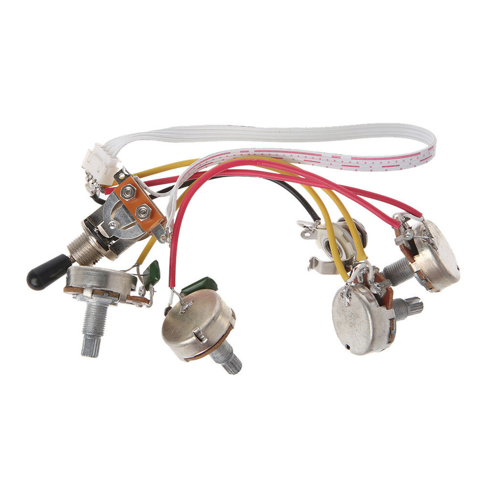 hight resolution of details about wiring harness kit 3 way toggle switch 2volume 2tone jack for lp electric guitar