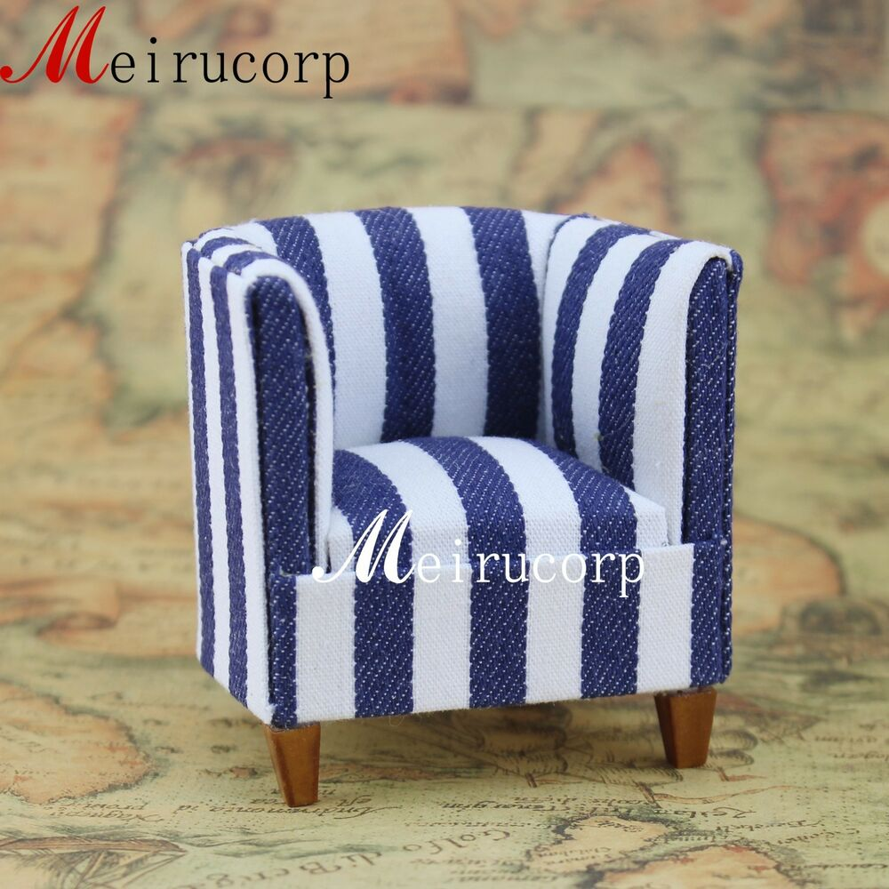 Blue And White Striped Chair 1 12 Scale Dollhouse Miniature Furniture Nice Well Made Blue White Striped Chair 6935452202655 Ebay