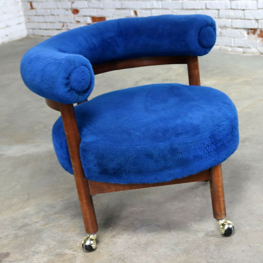 Royal Blue Chair Royal Blue Round Corner Chair With Bolster Back On Casters Mid Century Modern Ebay