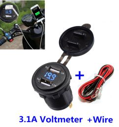 details about motorcycle dual usb charger socket 3 1a blue led voltmeter wire in line 10a fuse [ 1000 x 1000 Pixel ]
