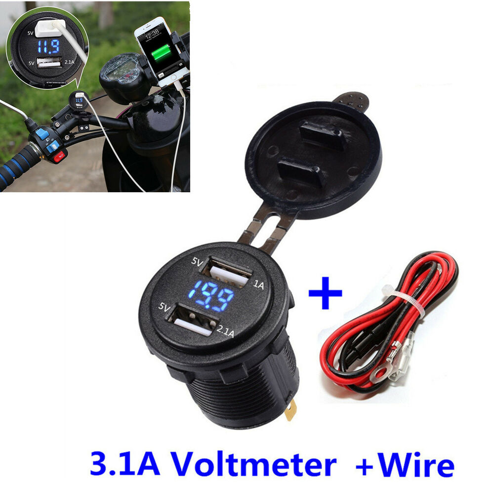 hight resolution of details about motorcycle dual usb charger socket 3 1a blue led voltmeter wire in line 10a fuse