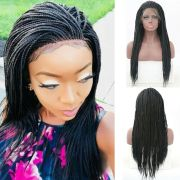 micro braids lace front wigs synthetic